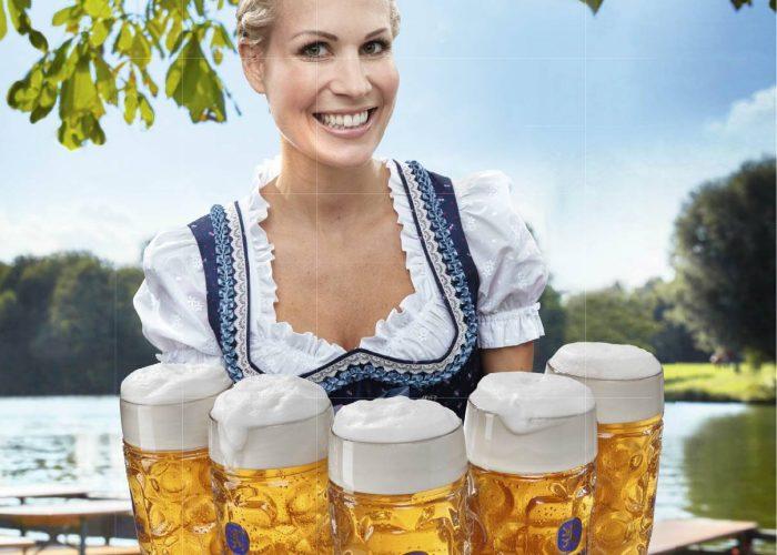 dame med ølkrus